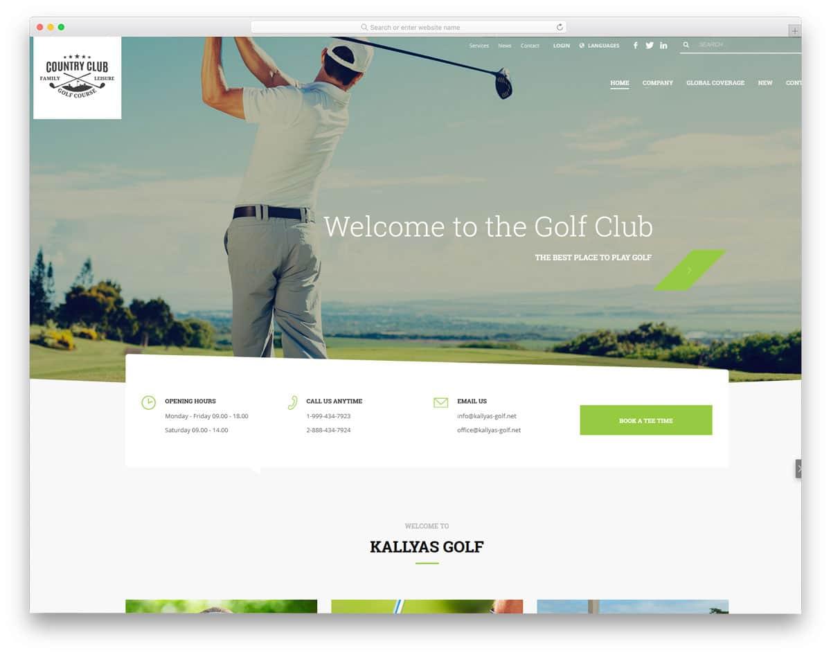 sensibly designed wordpress golf themes
