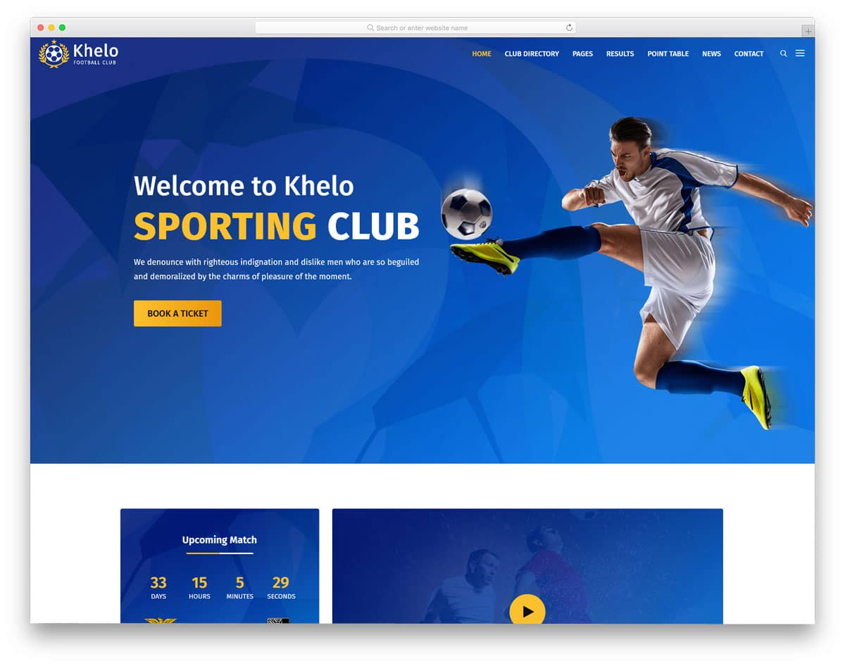 sports club website theme with animated sliders