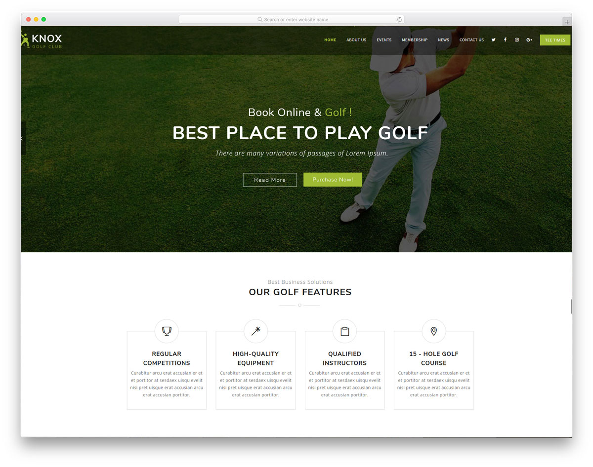 wordpress golf themes with online booking option