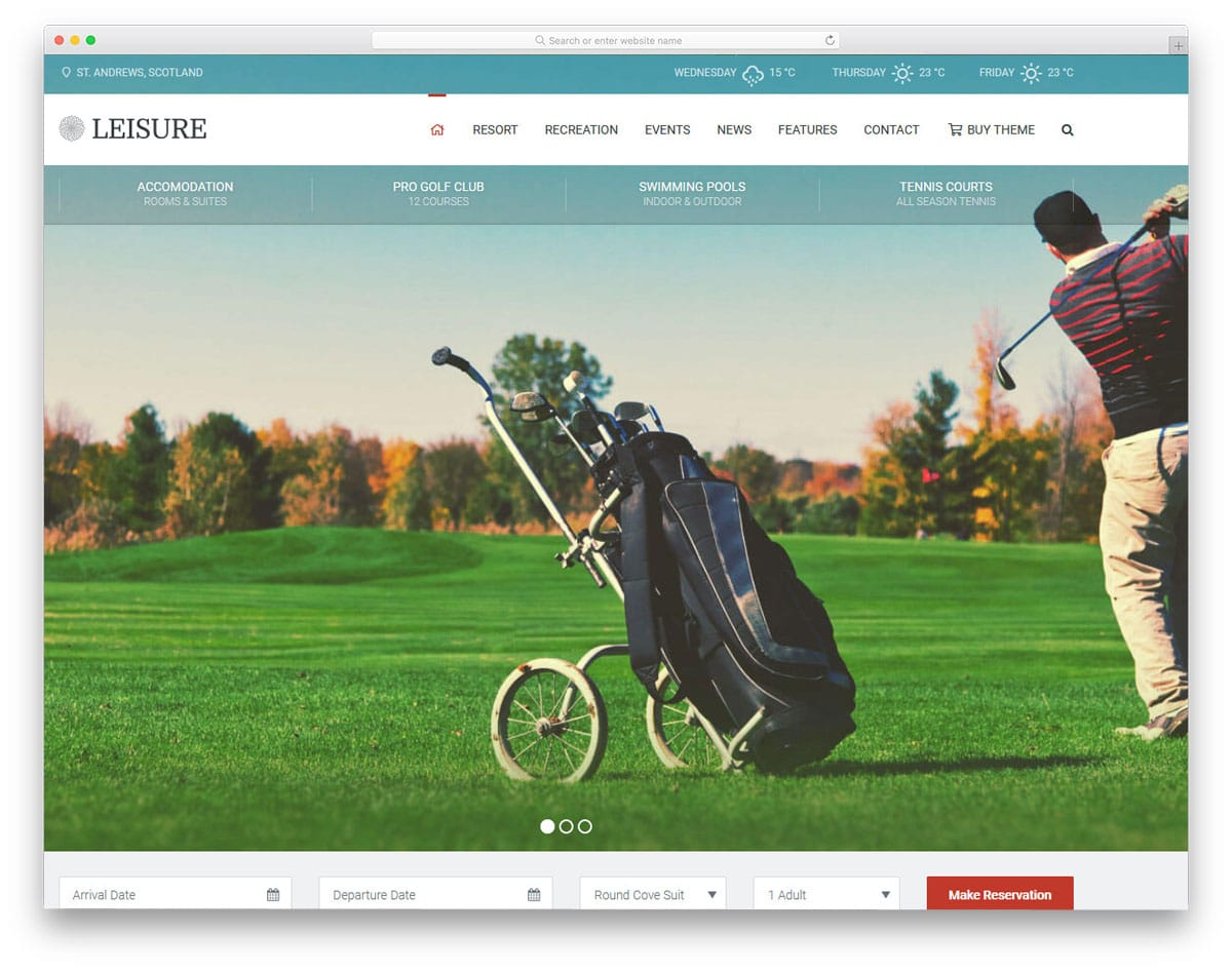 wordpress golf themes with weather widgets