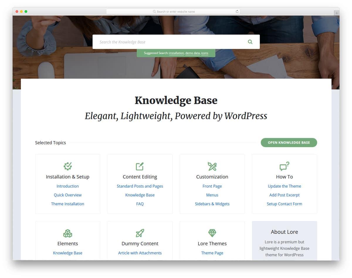 product or service konwledge base website design