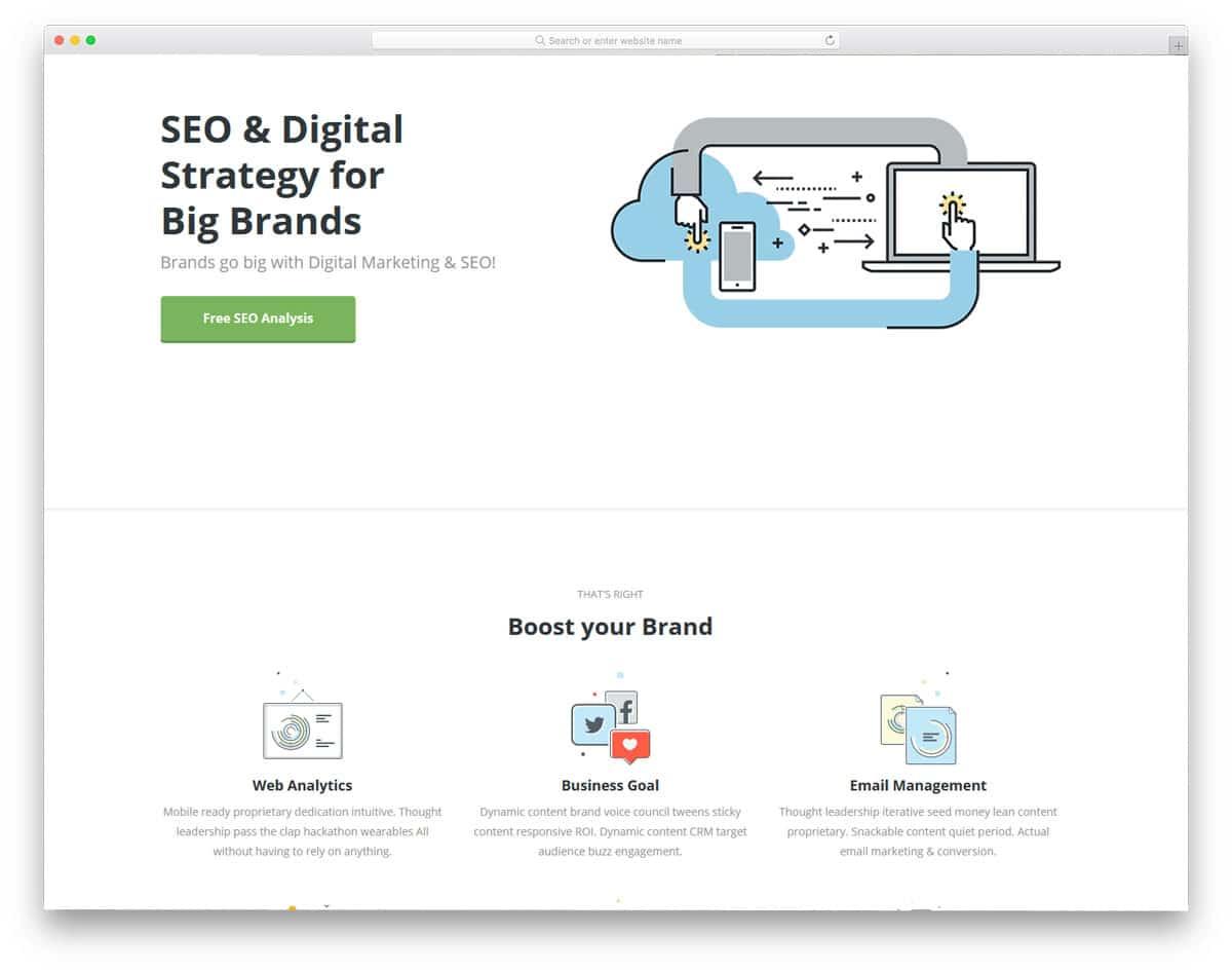 illustrative style digital marketing wordpress theme