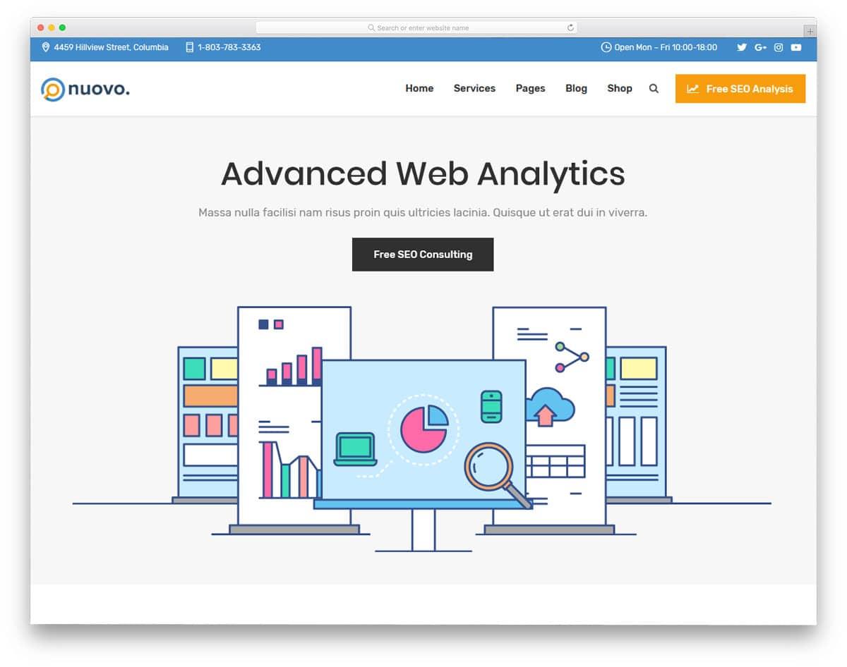 simple flat style seo agency wordpress theme