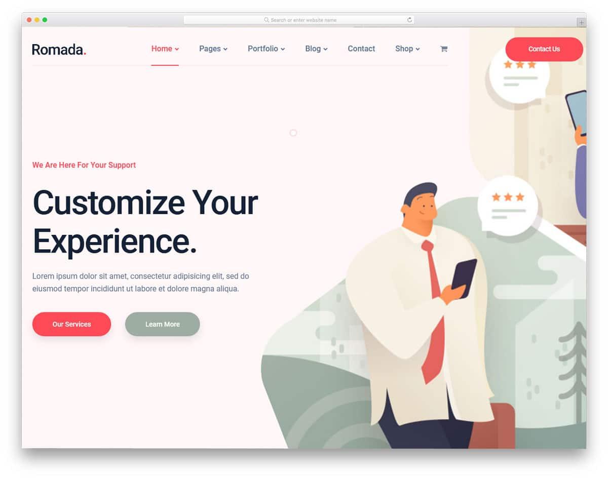 digital agency theme with beautiful portfolio page