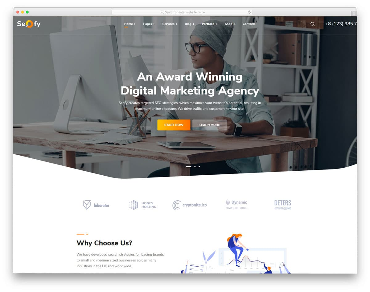 digital agency theme with clean design to explain your services clearly