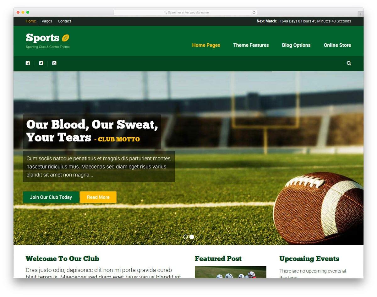 content rich sports website theme design