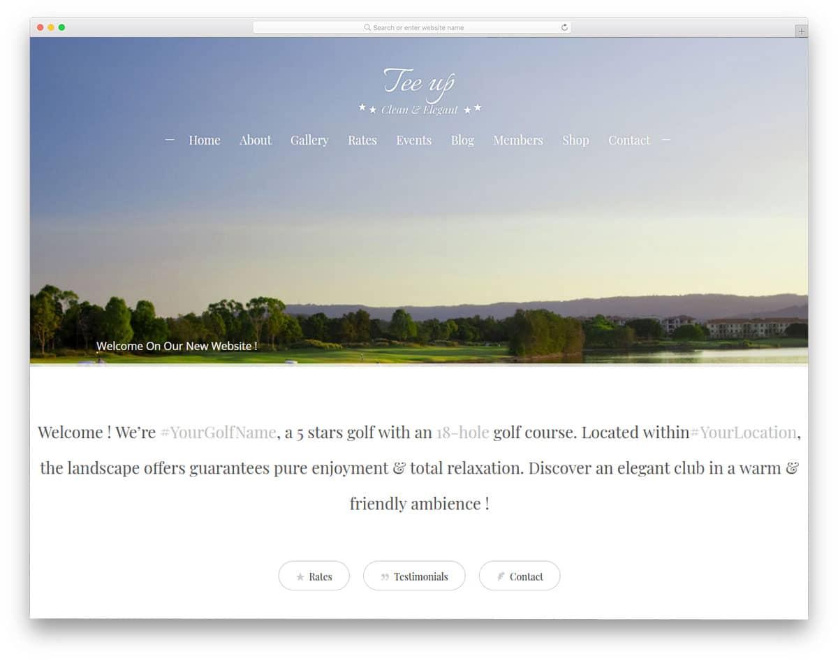simple and straightforward golf club wordpress theme