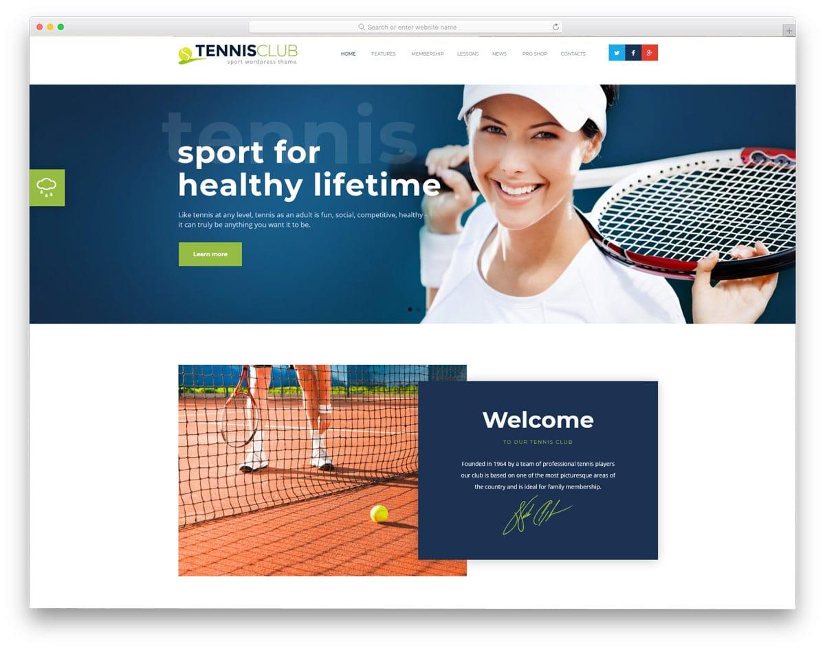 sports club wordpress theme with membership option