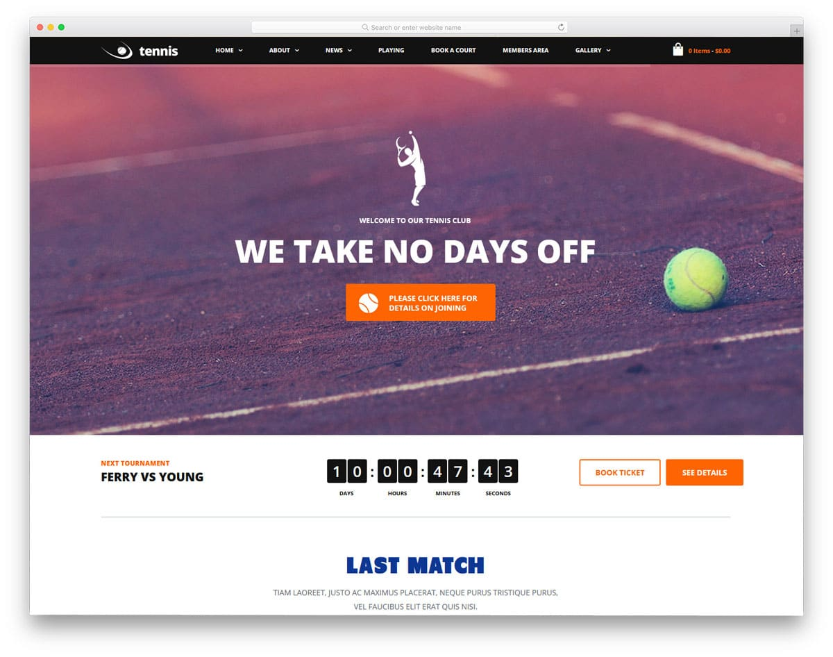 best wordpress sports theme to sell tickets and merchandises
