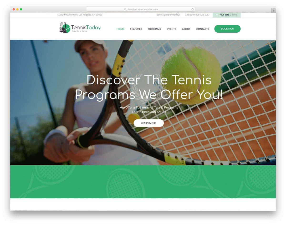 thoughtfully designed clean tennis wordpress theme