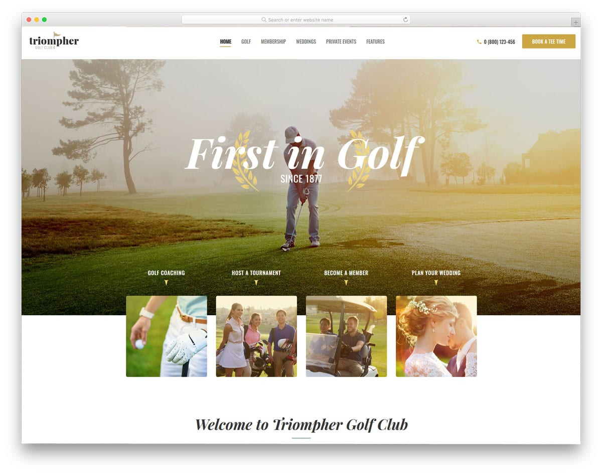 golf club wordpress theme with option for events