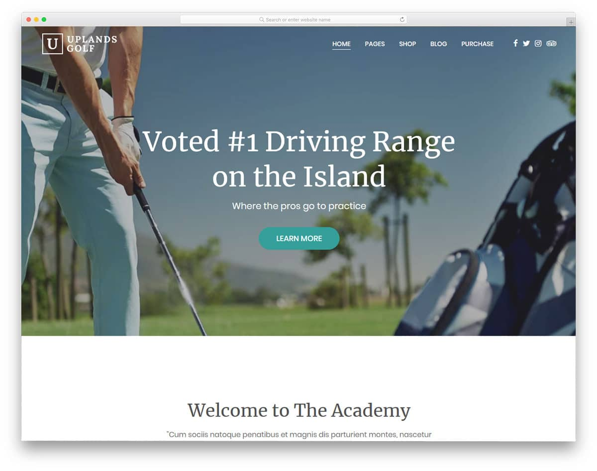 properly designed wordpress golf themes with all the necessary options