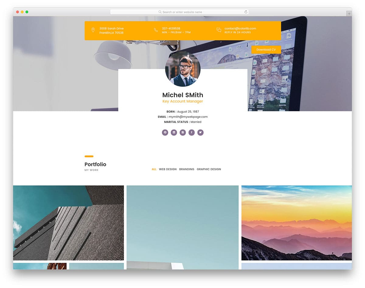 bootstrap profile page with portfolio