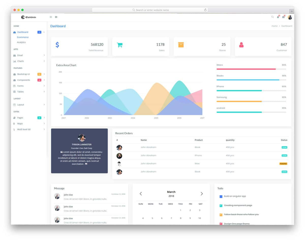 colorful profile page for ecommerce web applications