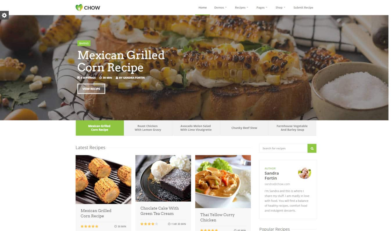 food website templates chow