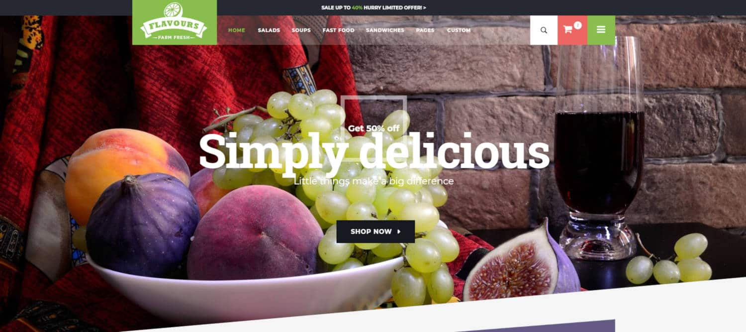 food website templates flavours