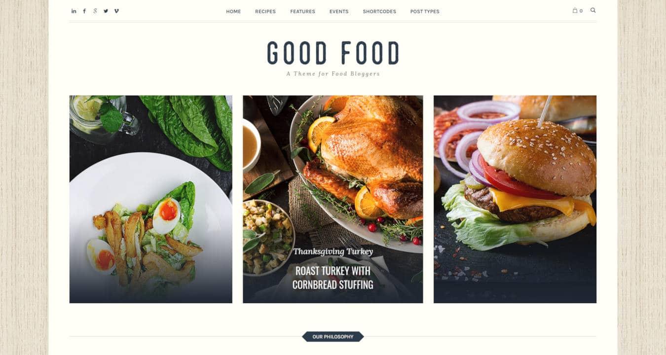 food website templates good food