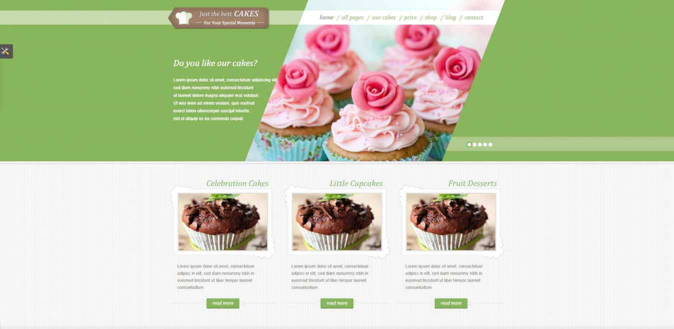 food website templates justcakes