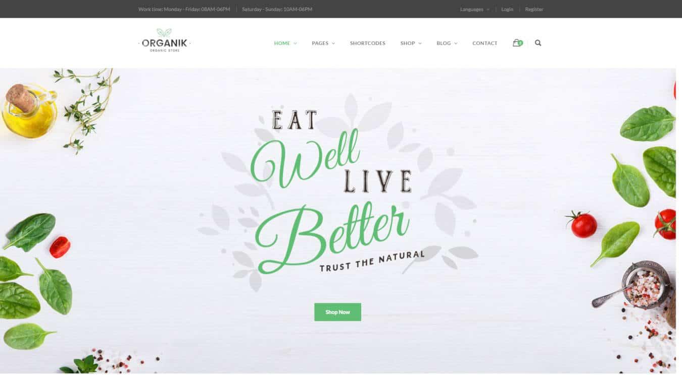 food website templates organik