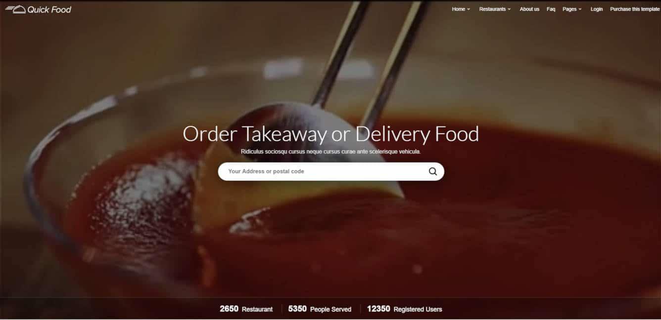 food website templates quickfood