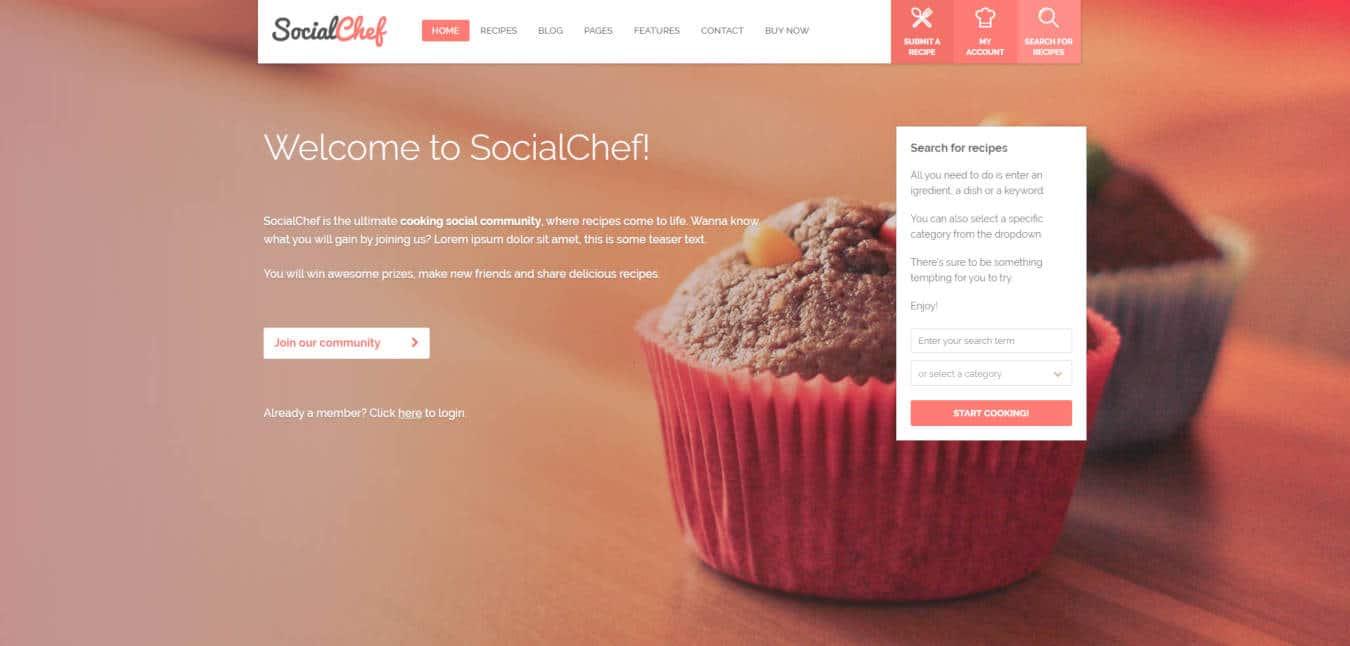 food website templates socialchef