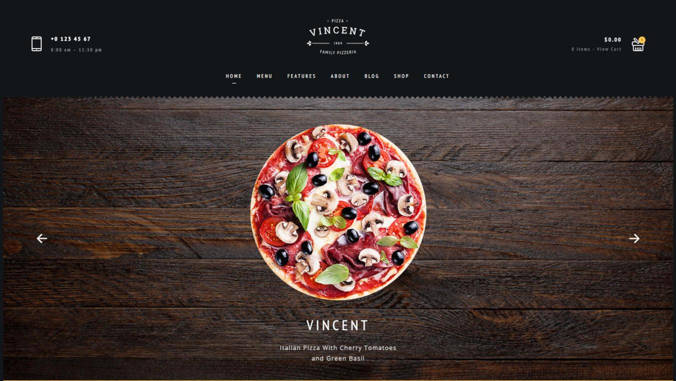 food website templates vincent
