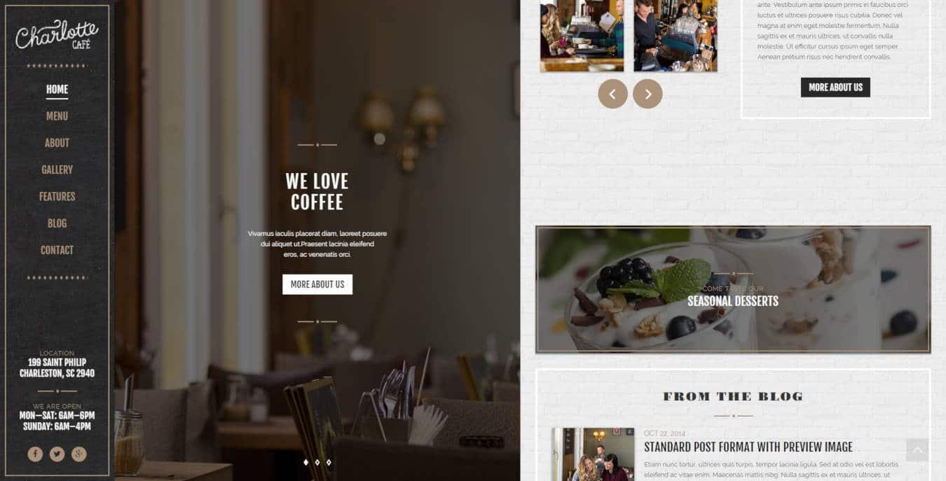 restaurant website templates charlotte