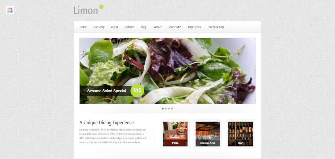 restaurant website templates limon
