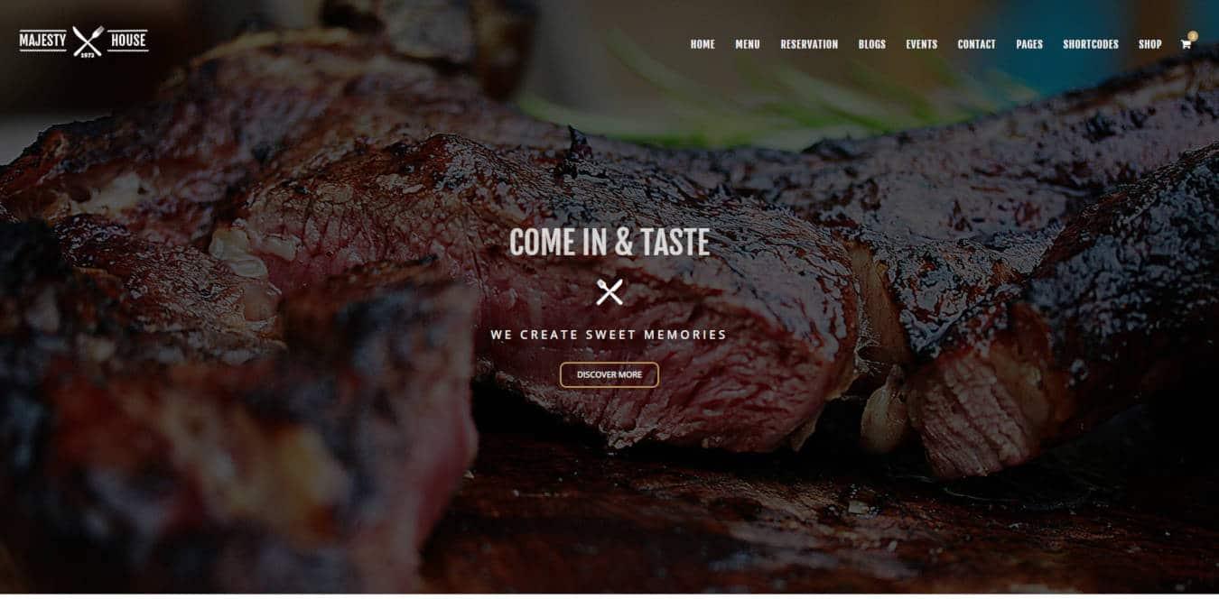 restaurant website templates majesty