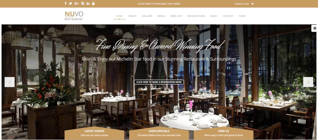 restaurant website templates nuvo