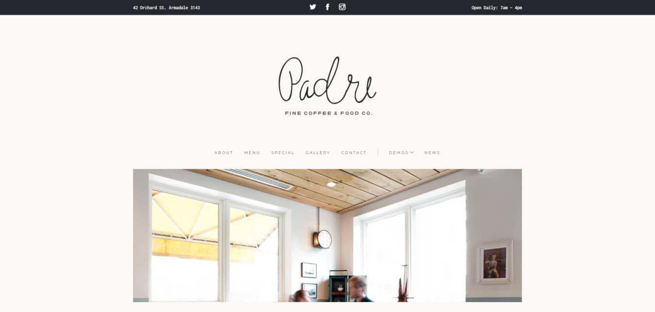 restaurant website templates padre