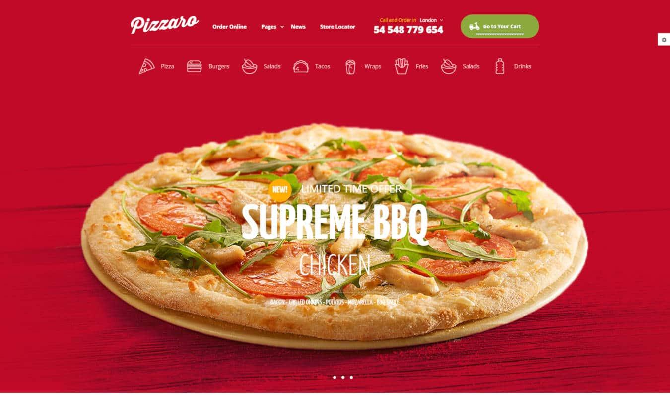 restaurant website templates pizzaro