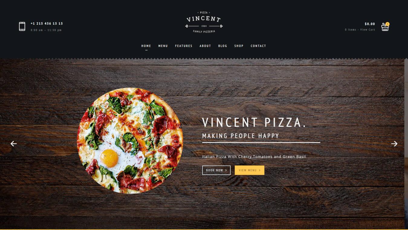 restaurant website templates vincent pizza