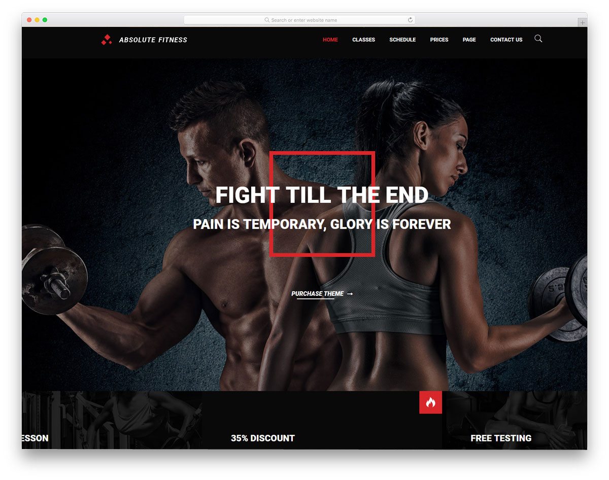 sturdy looking fitness website theme