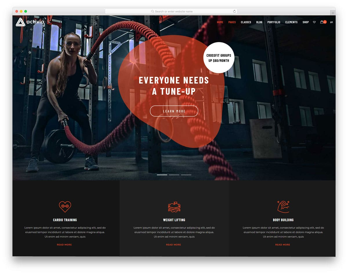 fitness website theme with trendy elements