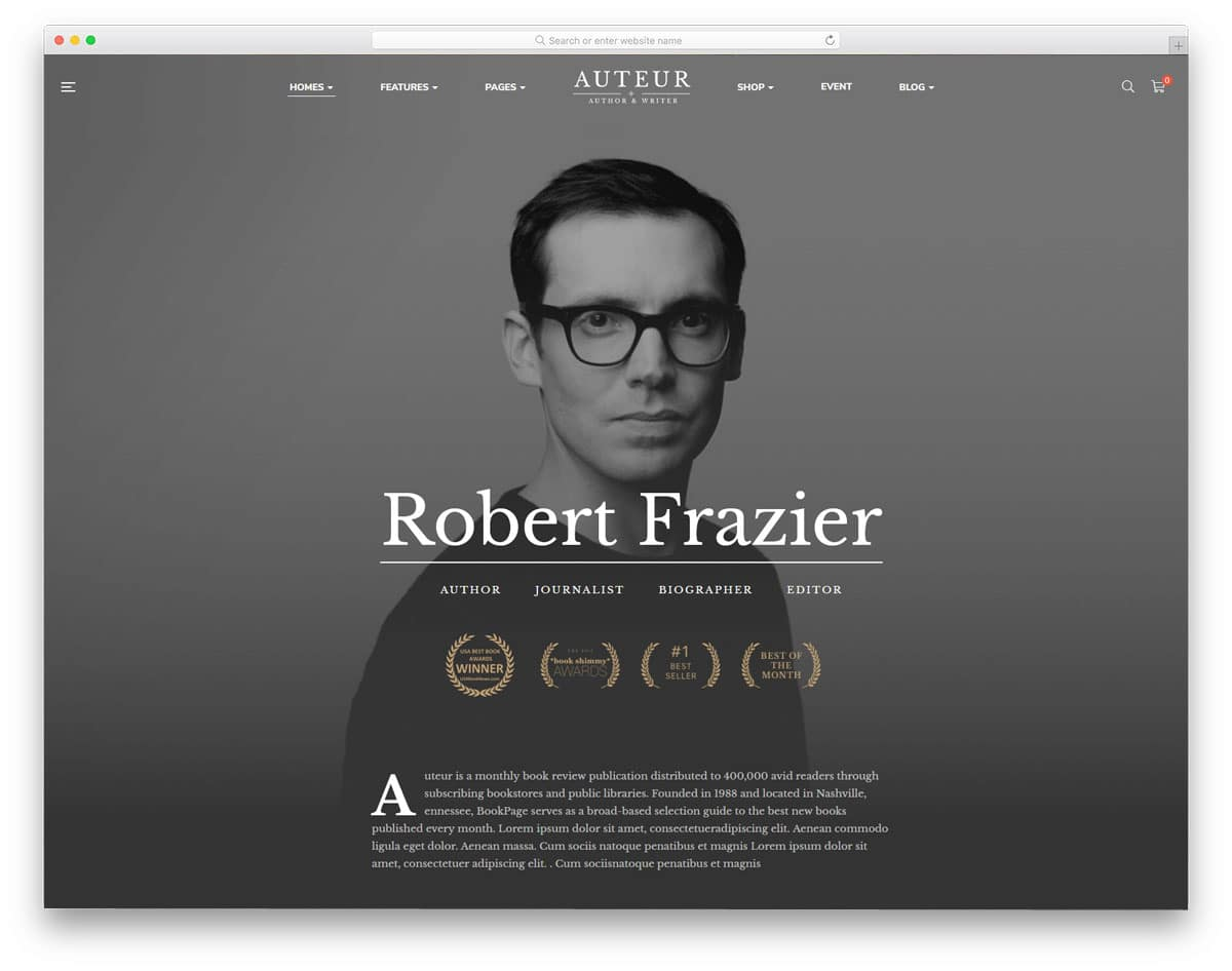 personal branding wordpress theme for writer and authors