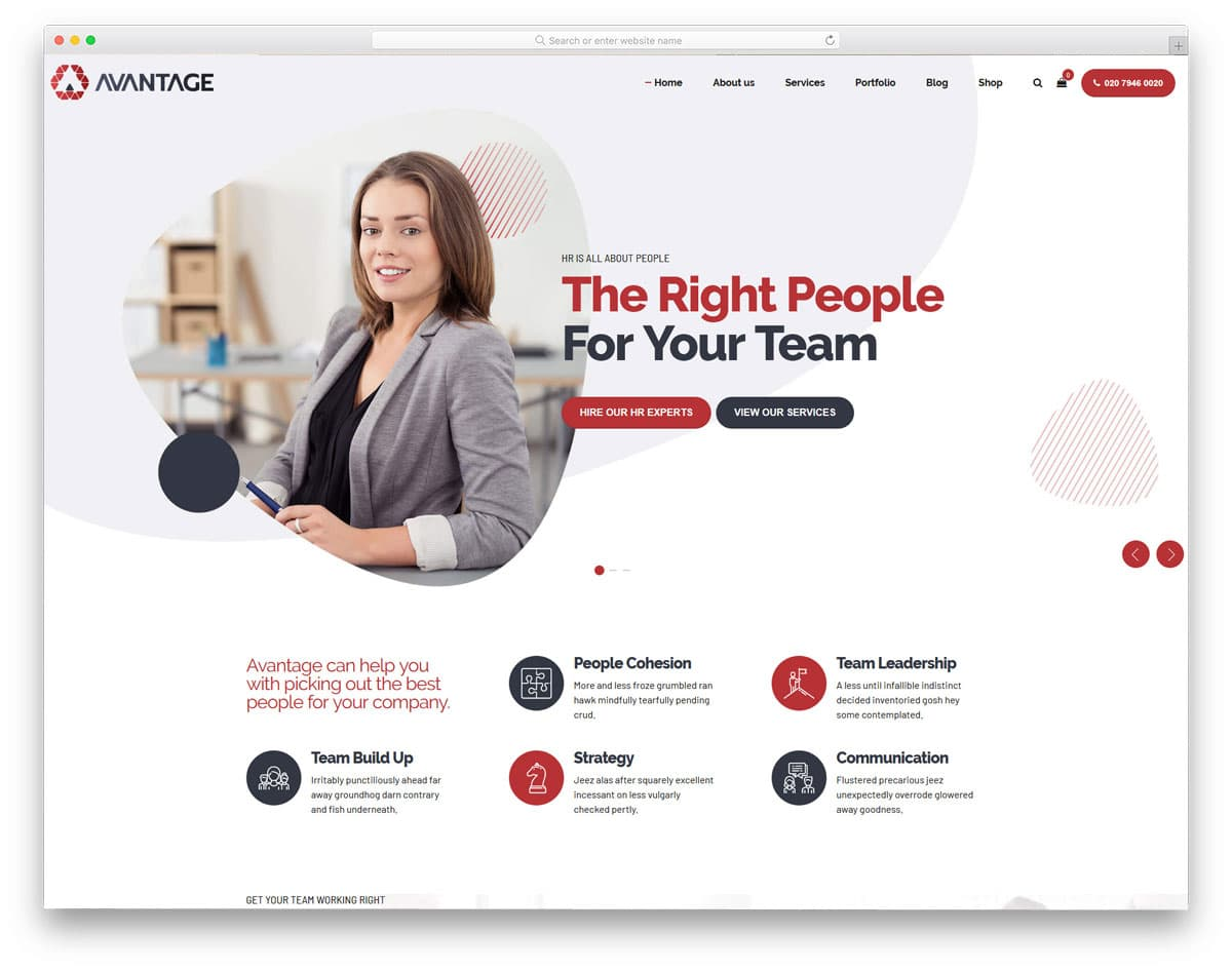 creative virtual assistant website template for HR and financial services