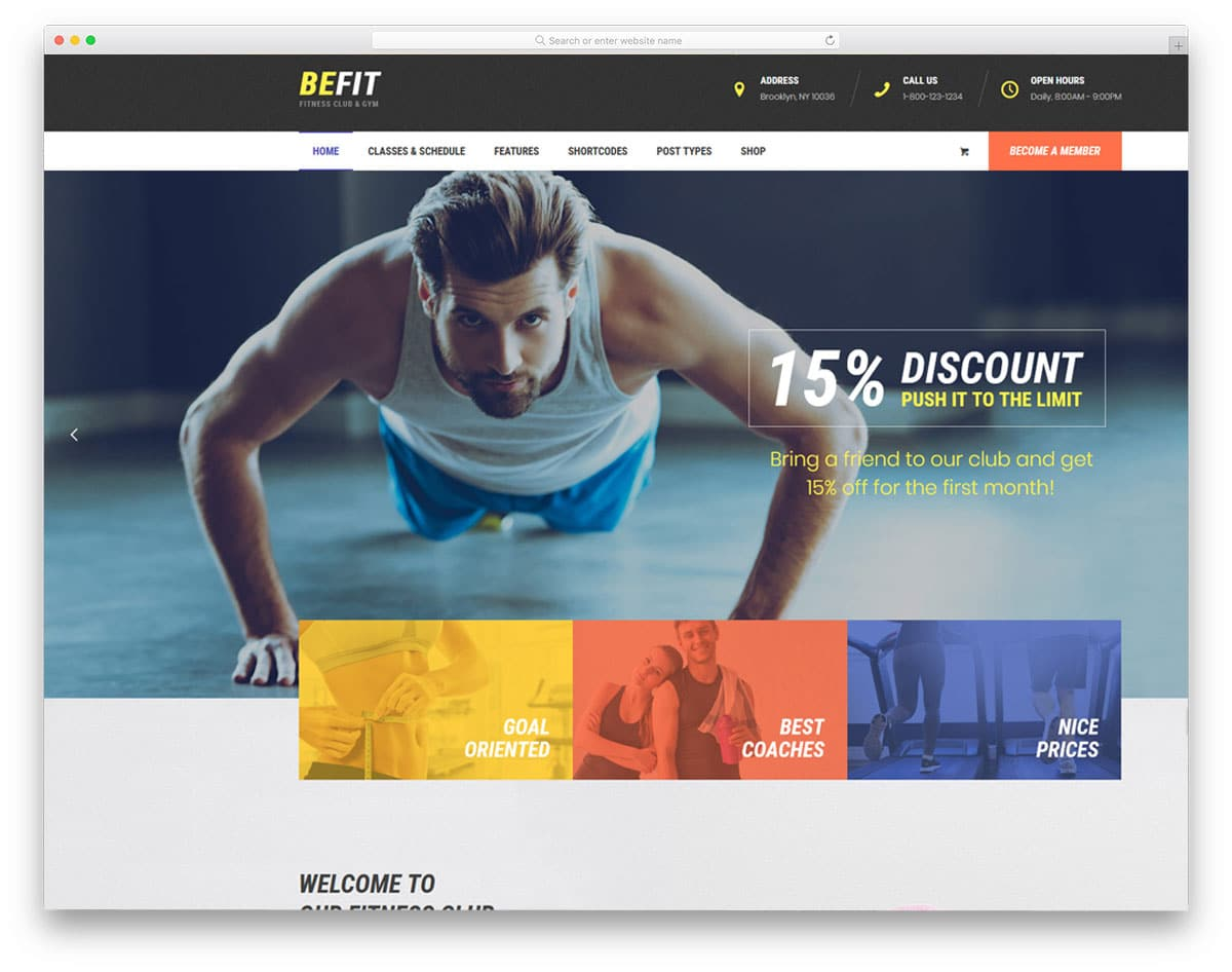 colorful fitness course offering wordpress theme