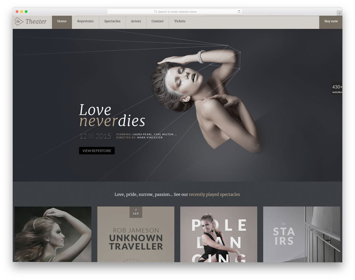 be multipurpose wordpress theme with spearate demo for actors
