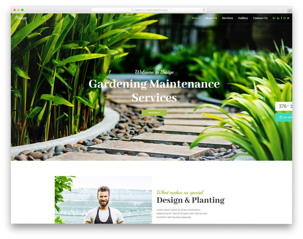 creative minimal WordPress theme for landscaping and gardening
