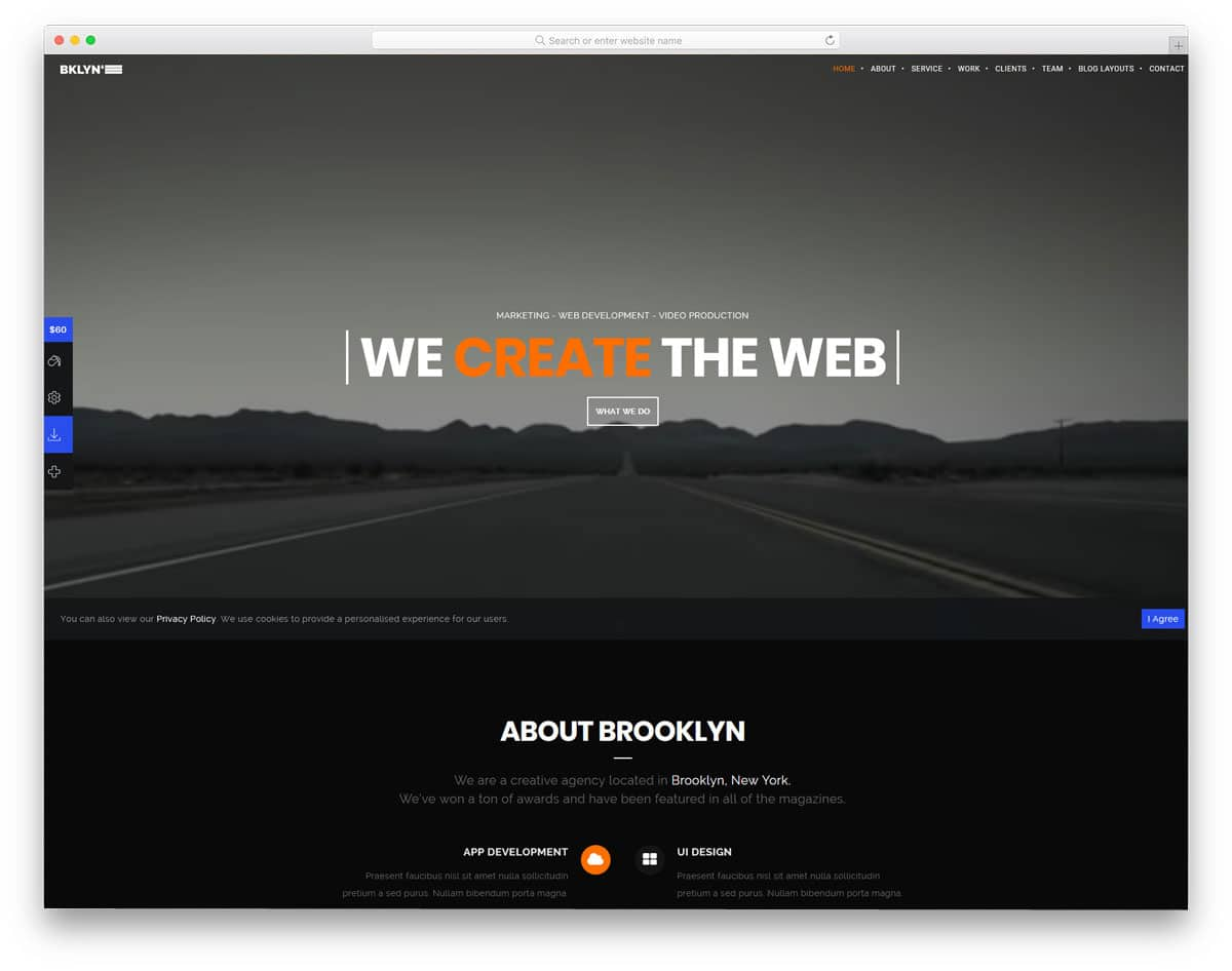 WordPress Themes Video Background for video production studios