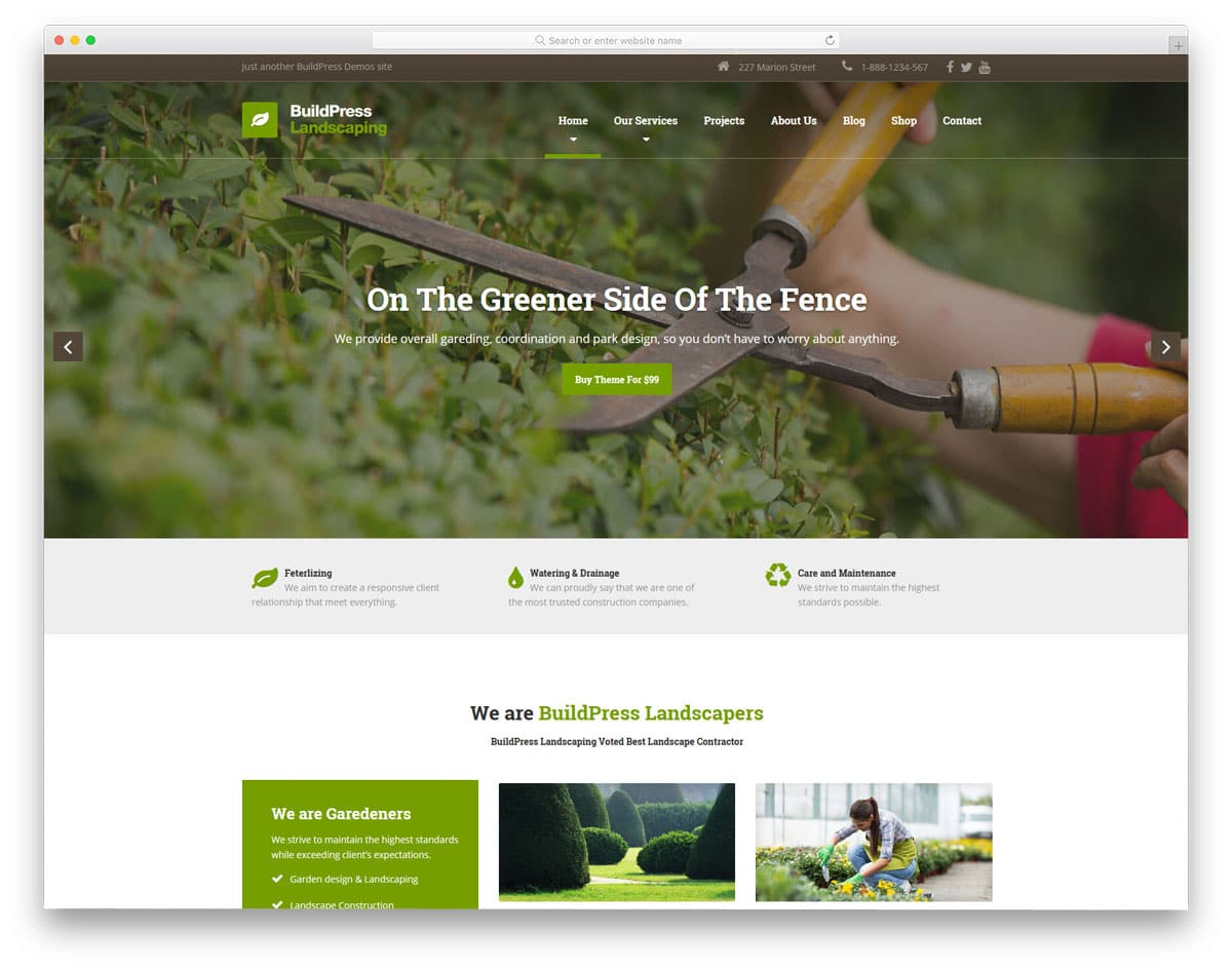 simple flat style landscape and construction wordpress theme