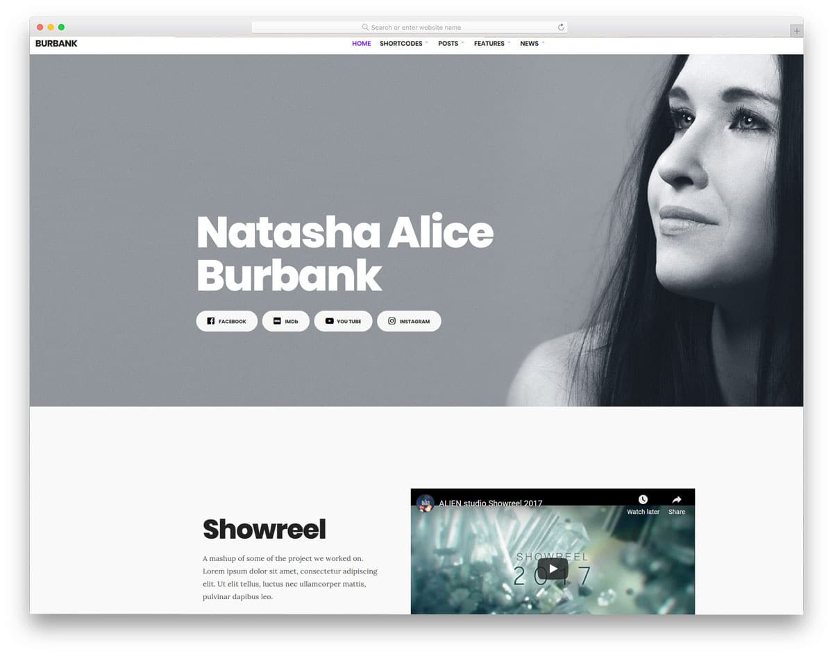 simple WordPress themes for actors