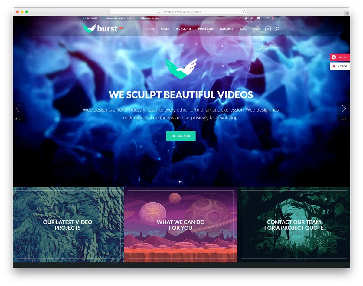 WordPress Themes Video Background for portfolios