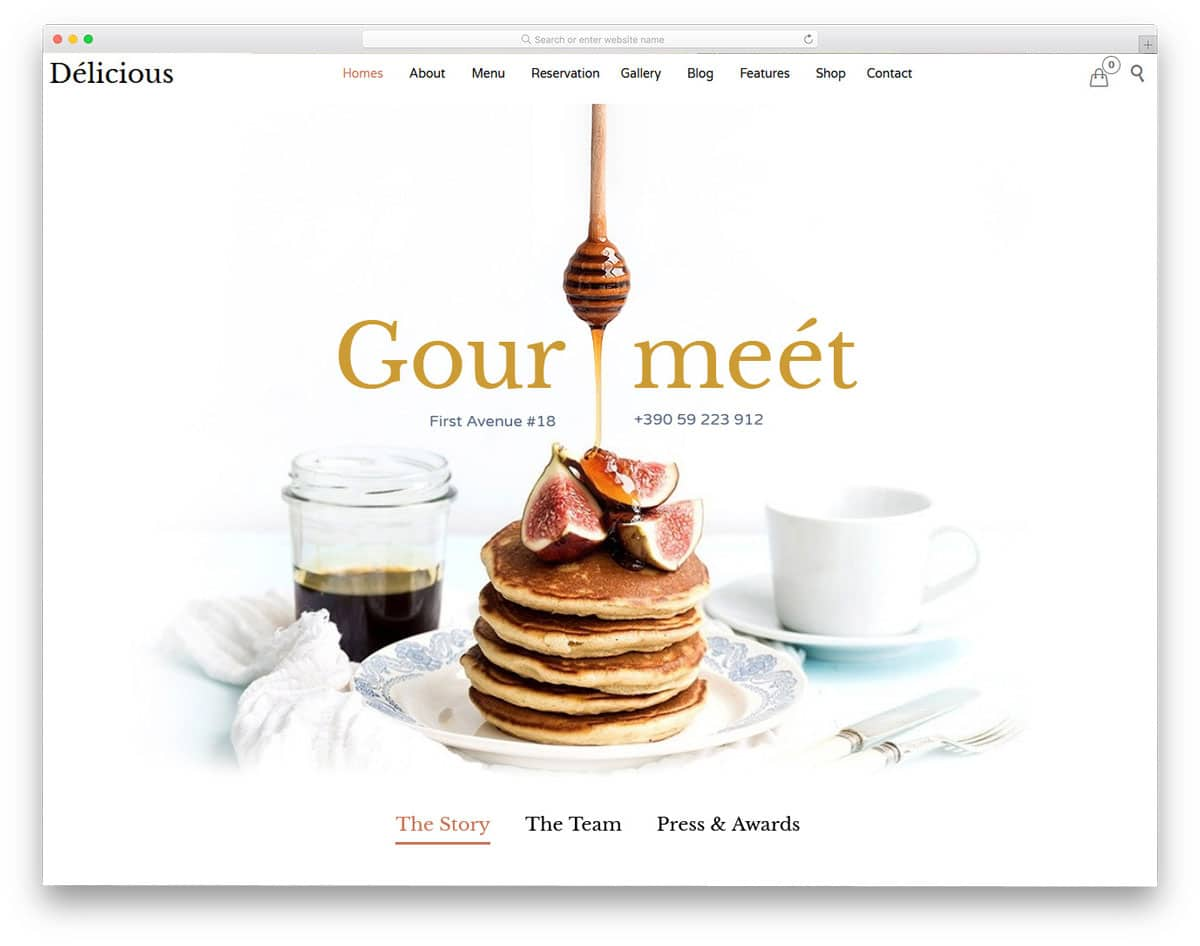 minimal and clean looking food website themes