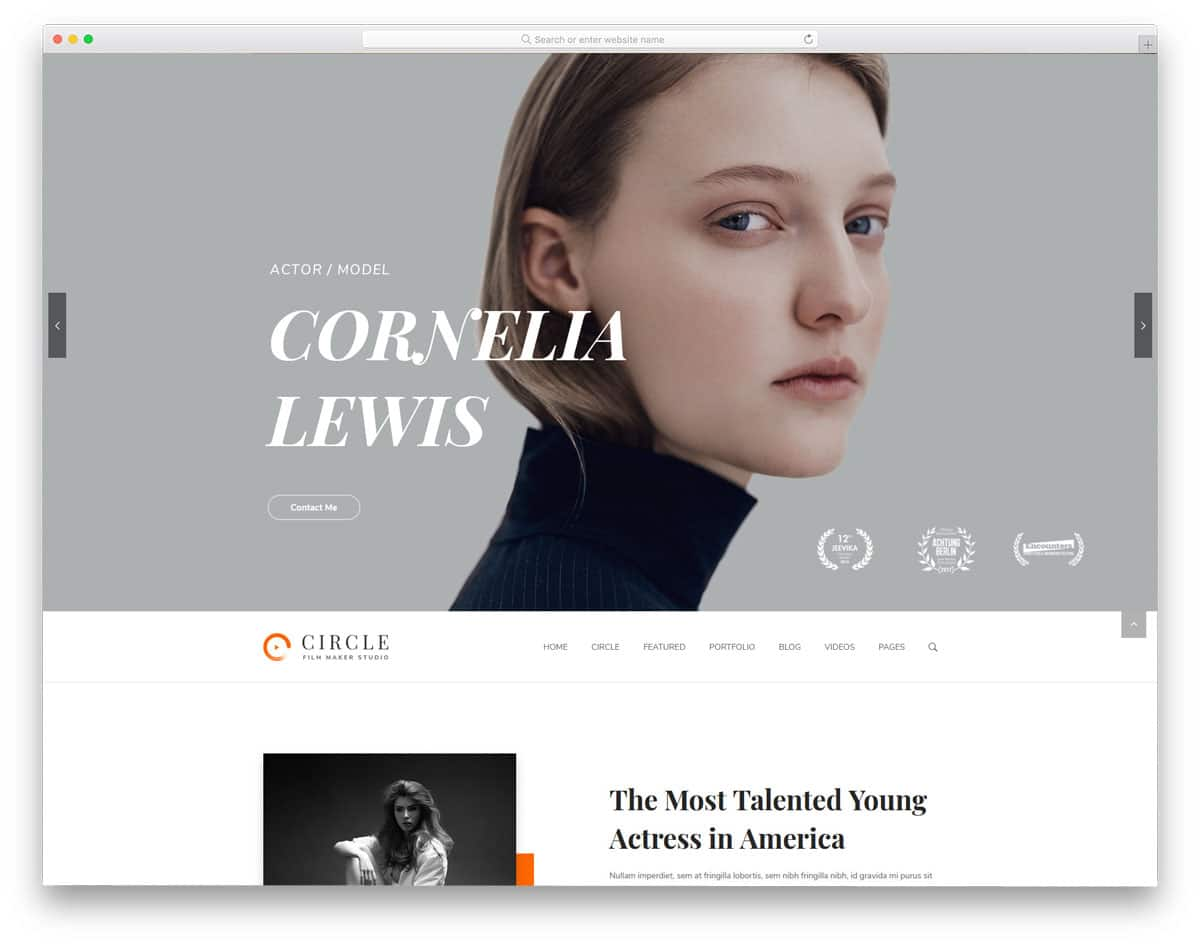 feature-rich WordPress themes for actors
