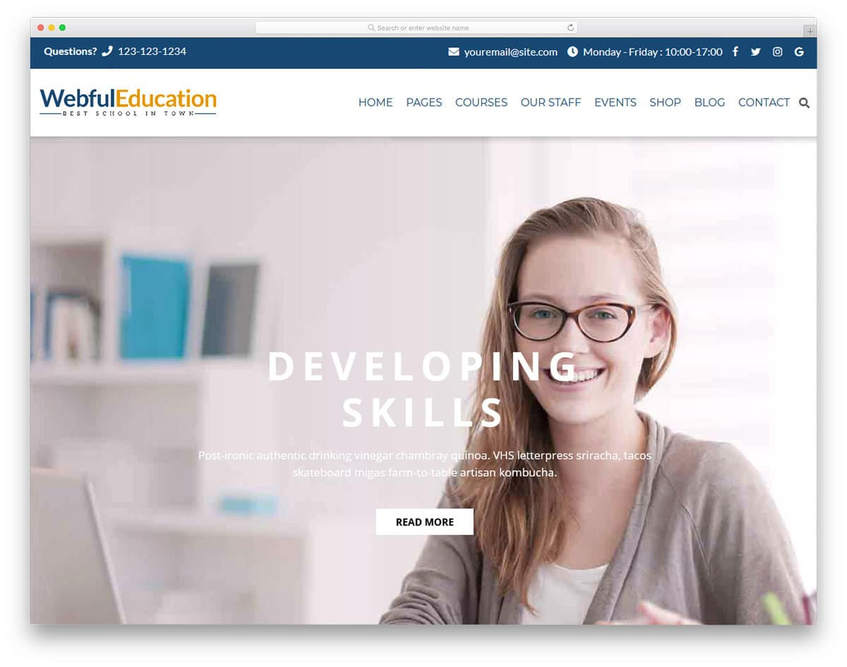 classy looking education website theme