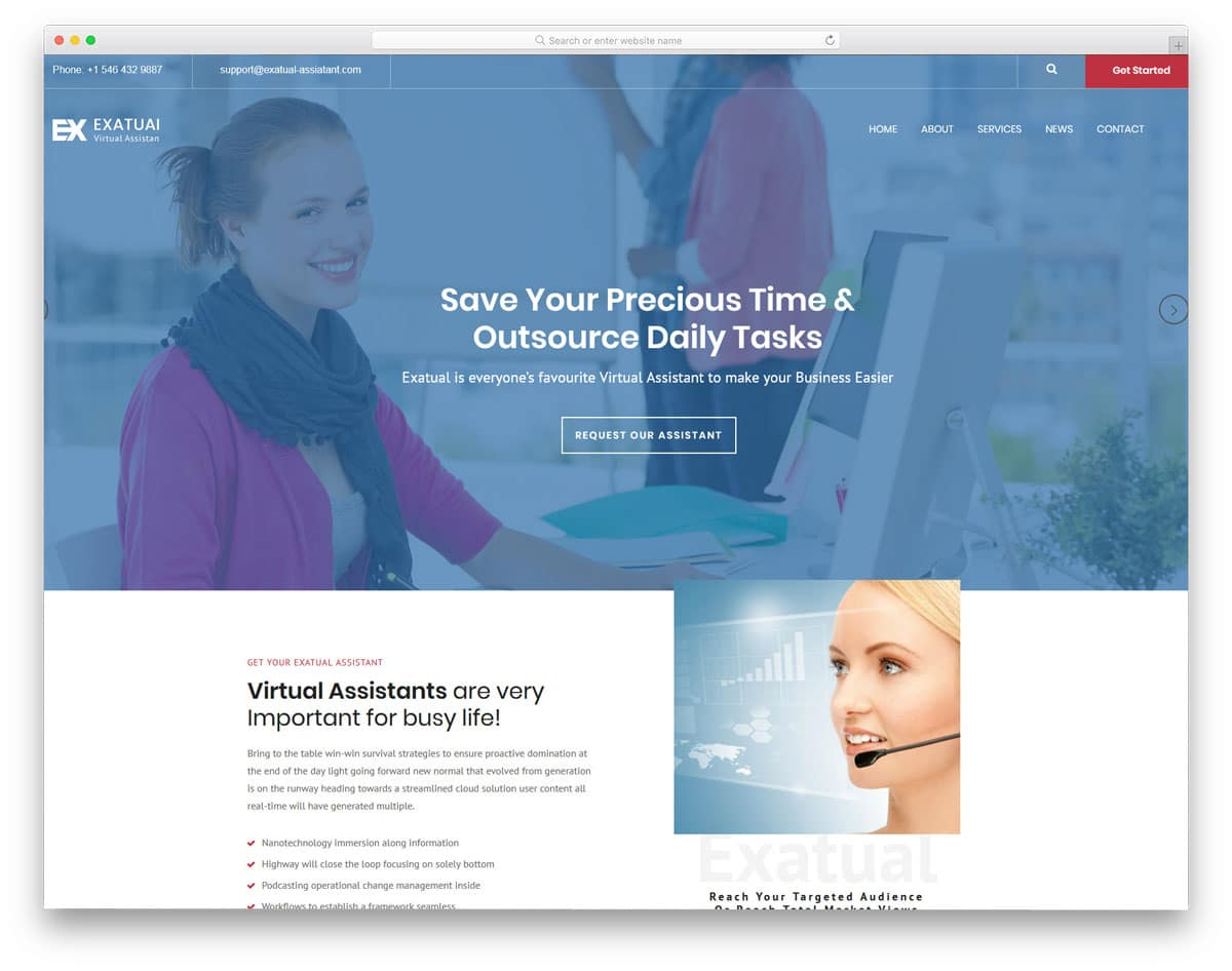 clean easy to customize html virtual assistant website templates