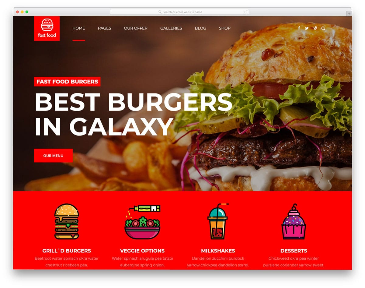 fast food WordPress themes