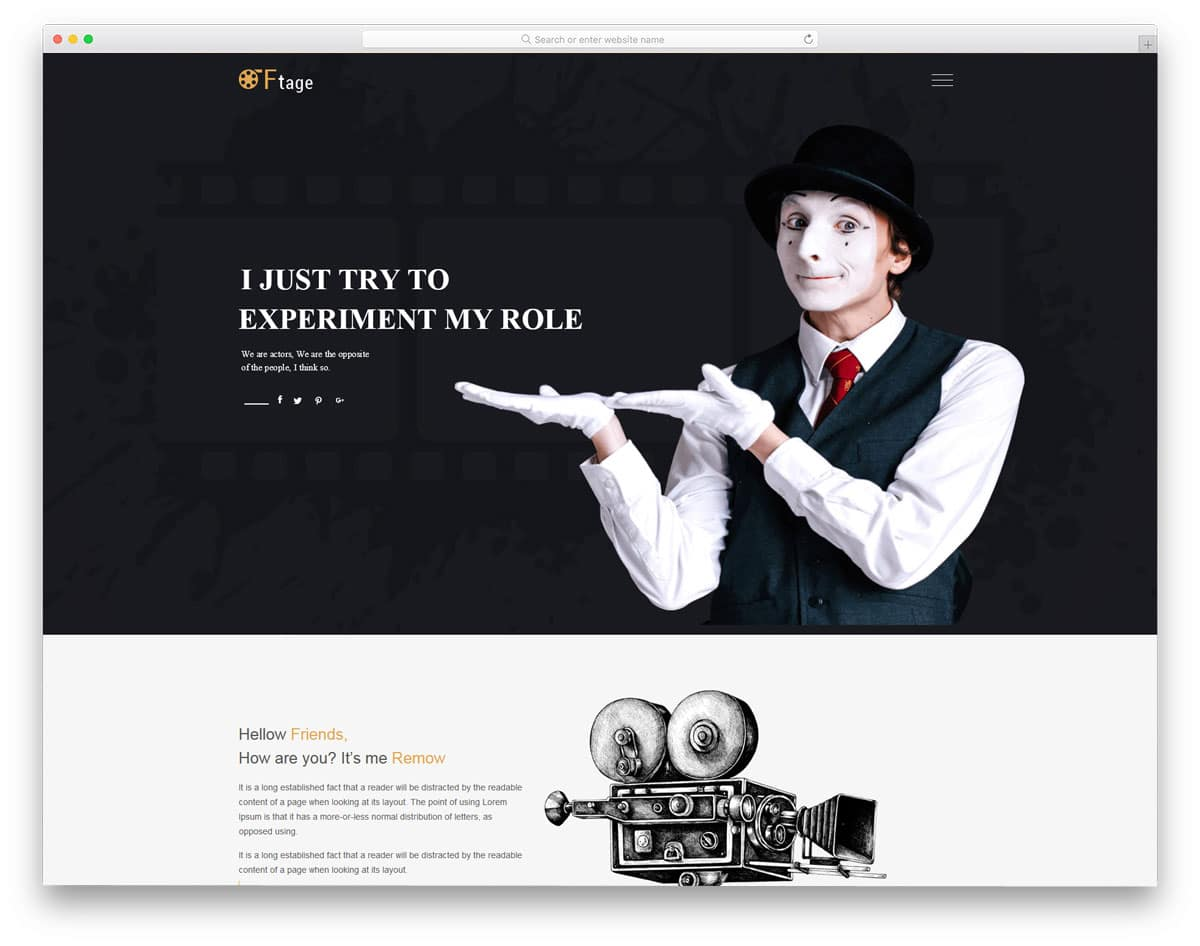 easy to edit HTML actor website templates